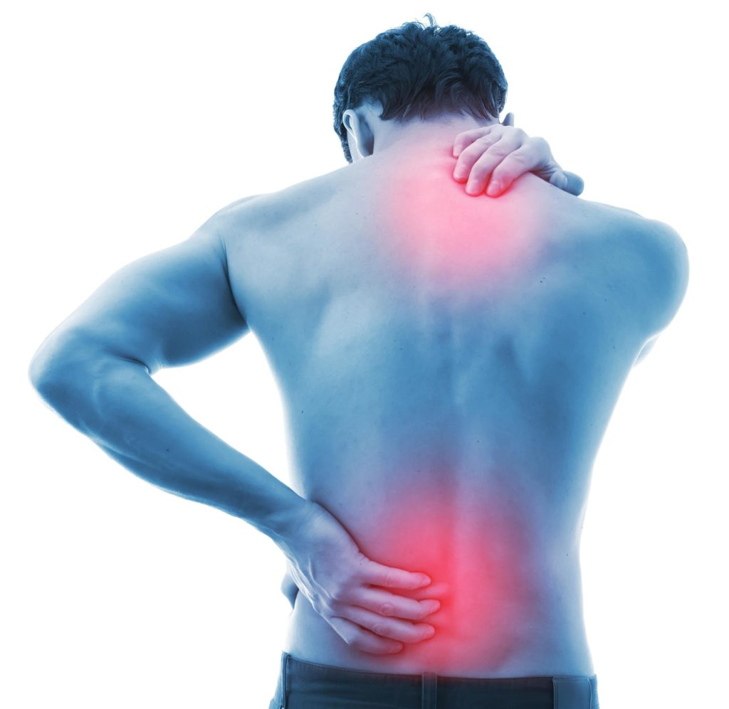 man suffering from back and neck pain